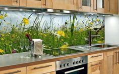 glasrückwand gelbe blüten küche grün frisch spüle herd