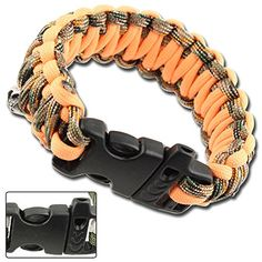 Skullz Emergency Survival Whistle Orange Camouflage Type III 550lbs Test Paracord Bracelet -- Click image for more details. (This is an affiliate link) #Paracords