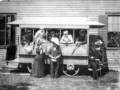 People posed on a trolley car in Tampa, 1892