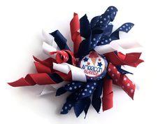 American Sweetie Patriotic Korker Hair Bow  by CuteAsaButtonbyAmy
