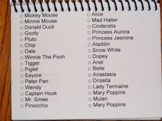 Disney Autograph Page Templates | List of characters