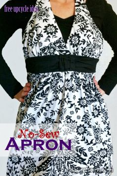 Upcycle Craft Idea - No Sew Apron, I really want to make one of these! #craftown #upcyclecraft
