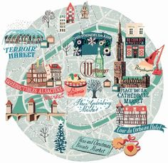 Strasbourg, France illustrated map