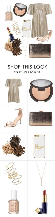 """golden metal"" by libil ❤ liked on Polyvore featuring River Island, Becca, Verali, Natasha, BaubleBar, BP., EF Collection, Essie and Estée Lauder"