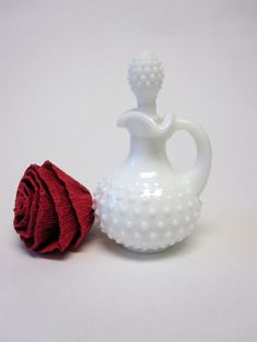 Avon Milk Glass Hobnail Pitcher by sweetie2sweetie on Etsy, $6.99
