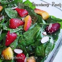 Spinach Strawberry & Peach Salad - used red wine vinegar, subbed honey for sugar.