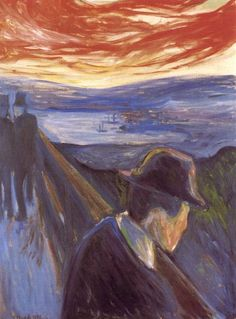 "Despair - Edvard Munch, 1892/ This is the same artist who did ""The Scream(er)"". It looks pretty depressing. Which came first, Despair or Scream? - Me fait penser au poème de Verlaine, L'angoisse"