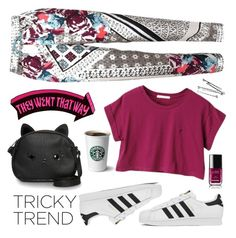 """""""Tricky Trend: Daytime Pajamas"""" by kels-x ❤ liked on Polyvore featuring Loungefly, adidas, Chanel and TrickyTrend"""