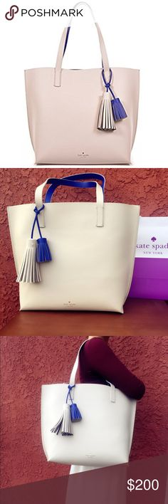⚡Reduced⚡️*NWT *KATE SPADE  Leather Tote 100% AUTHENTIC NWT KS Tasha Leather Tote  Details: Pebbled leather with embossed signature and light gold stud. Unlined interior features one zip pocket and one slide pocket. Two fringe tassels included (pebble tassel 5″, lapis blue tassel 2.25″). Approx. dimensions: 13″ H x 17.5″ W x 6″ D with dual handle (9″ drop) Retail Price: $399.00+Tax ! Thanks for stopping by ! Taking offers . No trade please :) kate spade Bags Totes
