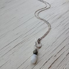Sterling Silver Pyrite and Moonstone Toggle by JabberDuck on Etsy, $53.77