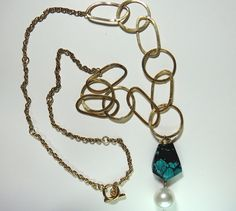 Gold Plated Long Chain Necklace with Hubei by RaquelDoloresDesign