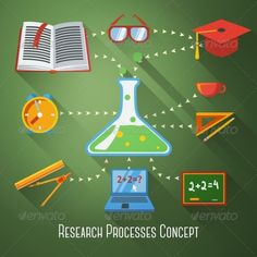 Flat Concept of Research, Education Processes by tashal Flat concept of research and education processes. With research icons.