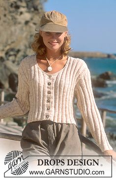 DROPS 41-23 - DROPS cardigan in Safran with rib - Free pattern by DROPS Design