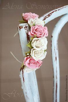 Ободок-венок с белыми и персиковыми розами. - белый,венок,ободок,с розами