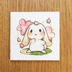 bunny with sakura Cute Kawaii Animals, Cute Animal Drawings Kawaii, Kawaii Art, Cute Drawings, Pretty Art, Cute Art, Bunny Drawing, Arte Sketchbook, Dibujos Cute