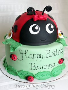 Ladybug birthday cake with fondant decorations.