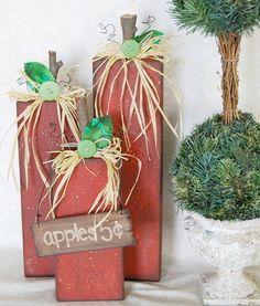 2x4 wood, apples, fall, diy, home decor, fall decor, primitive, folk art, wood projects, fabric, button, buttons, raffia, paint