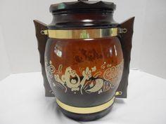 Vintage Retro Mid Century Siesta Ware Brown Glass Crunch Bunch Cookie Snack Jar
