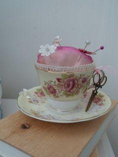 Pin cushion teacup