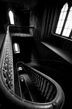 ☾ Midnight Dreams ☽  dreamy & dramatic black and white photography - staircase