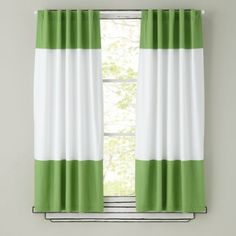 Kids Curtains: Green and White Curtain Panels - 63 Color Edge Green Curtain Panel (Sold Individually)