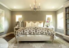 """Take away the paint and design of this room, and it becomes """"plain jane.""""  It's amazing what the selection of side table lamps, paint color, furniture, and chandelier do for this room."""