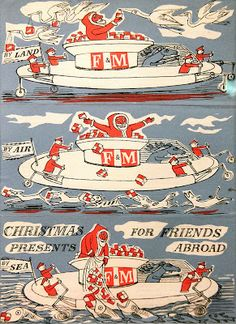 """""""By Land, By Air, By Sea: Christmas Presents for Friends Abroad"""" by Edward Bawden for Fortnum & Mason"""