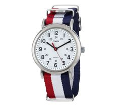 Custom Red White and Blue Timex Watch. From iconic American watchmaker Timex and paired exclusively with our classic Red, White & Blue NATO Military strap, this elegant watch is a study in stylish subtlety. With its old-school styling and world-class, modern construction, this timepiece is, well, timeless. Our most versatile timepiece, it's one you can wear with jeans or a suit.