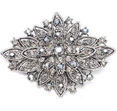 Vintage Style Geometric Floral Crystal Brooch or Bridal Pin $23.99