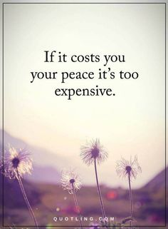 Inner Peace Quotes If it cost you your peace it's too expensive.