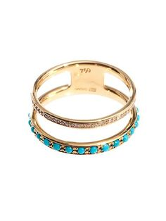 Nikos Koulis Diamond, Turquoise & Gold Ring