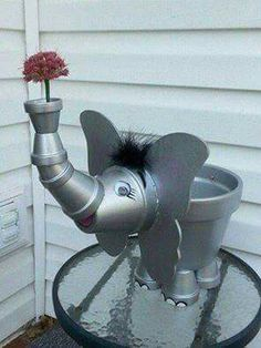 Elephant made out of flower pots