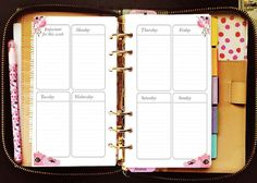 Printable planner inserts personal vertical weekly for Kate Spade Wellesley, Kikki K, Filofax, Webster Pages / INSTANT DOWNLOAD