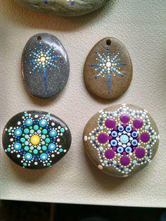 Hand Painted Beach Stone ~ Colorful Dot Art Mandala Painted Rock ~ Original Home Decor ~ Blue & Purple Star Flower by P4MirandaPitrone on Etsy