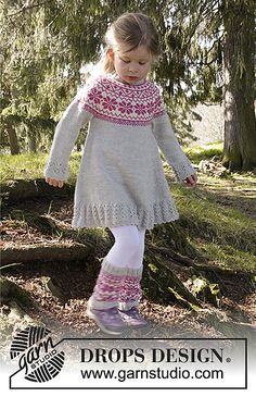 "Forest Dance by DROPS Design - free knitting pattern - free knitting . Forest Dance by DROPS Design - free knitting pattern - free knitting pattern Knitted DROPS dress in ""Karisma"" with Norwe. Baby Knitting Patterns, Love Knitting, Fair Isle Knitting, Knitting For Kids, Crochet For Kids, Knitting Designs, Baby Patterns, Crochet Baby, Knit Crochet"