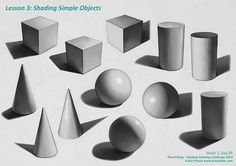 Full value scale rendering of cubes, cylinders, cones and spheres