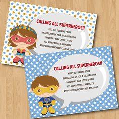 Super Hero Boy/Girl Birthday Party Invitation Digital Printable, Any color any wording