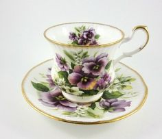 Stunning Purple Pansy Queen's Rosina China Tea Cup and Saucer Set
