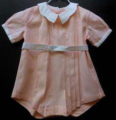 Vintage peach baby / toddler boy romper, circa 1950's.