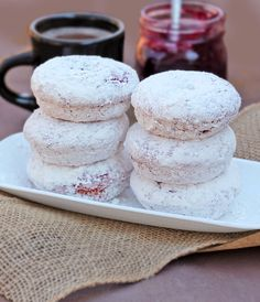 Baked Powdered Sugar Doughnuts With Beets from David @spicedblog