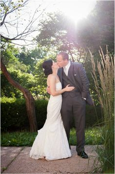 David's Bridal bride Andrea in a strapless lace trumpet wedding gown (similar style: V3680)