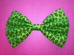 Neon Green Leopard Animal Print Fabric Hair Bow by BlueKitty, $5.00