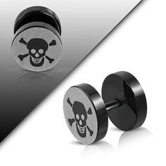 Fake Plugs, Pirate Skull, Steel Jewelry, Black Stainless Steel, Body Mods, Midnight Blue, Pirates, Pairs, Accessories
