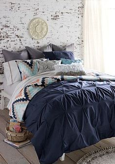 Absolutely loving this gorgeous color palette and all of this beautiful texture of the bedding! #ATGstores #bedding