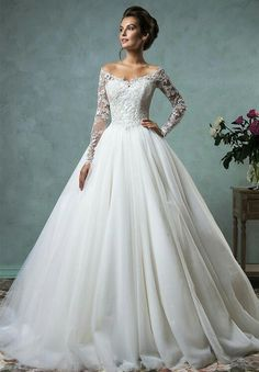 Gorgeous Long Sleeve Tulle Lace Wedding Dress 2016 Off-the-Shoulder