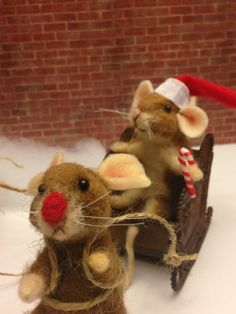 Mack and Manny Needle felted mice Christmas by weewooleybeasties