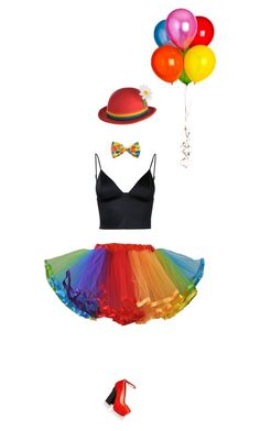 """quit clowning around"" by mimas-style ❤ liked on Polyvore featuring T By Alexander Wang, Aperlaï, DIY, Halloween, fun, Costume and clown"