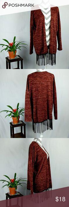 """Entro Fringed Boho Open Cardigan Style # 2619 Entro Fringed Open Cardigan  Boho Style # 2619  Made in USA Red  Size Large FLAT Measurements: Shoulder-30""""; Bust-27""""; Waist-26.5""""; Hem-25""""; Length not including fringe-28""""; Sleeve-17"""" Entro Sweaters Cardigans"""