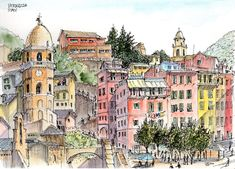 Phil McDonel - Exploring the Cinque Terre by Boat (Urban Sketchers)