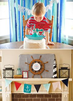 Nautical themed birthday party. Love this bunting banner and the ship's wheel